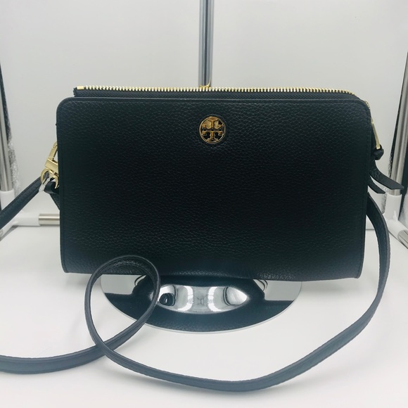 NWT Tory Burch Brody Pebbled Leather Wallet Crossbody Bag in Black// Gold